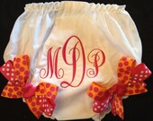 Monogrammed Bloomers Diaper Cover with Grosgrain Ribbon Bows
