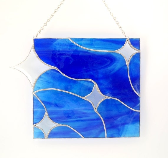 Stained Glass Modern Art- Glass Window Hanging- Modern Glass Decor- Blue- Beveled Stars