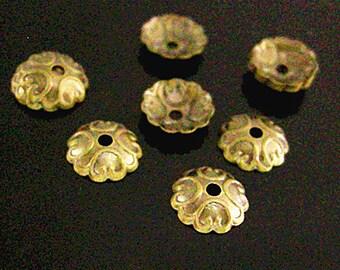 100pc 7mm antique bronze finish brass made bead caps-3230