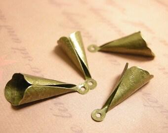 10pc 26x9mm antique bronze finish bead caps-7926