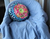 Sale Handmade Crocheted Double Sided Round Sofa Pouf PIllow Colorful One of a Kind 45cm Diameter