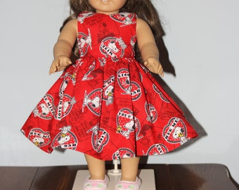 """18"""" Doll Dress -  Valentine Heart with Snoopy and Woodstock Dress for any 18"""" Doll - Doll Clothes"""