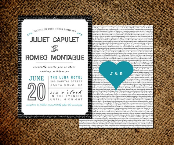 Love Letter Wedding Invitation & RSVP Card - Old Fashioned Style - Double Sided Invite - Printable DIY