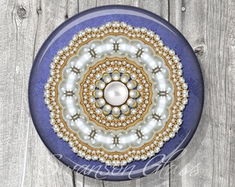 Pocket Mirror Wedding Favor - Blue Pearls Photo Mirror - Wedding Shower -Customized Compact Mirror A43