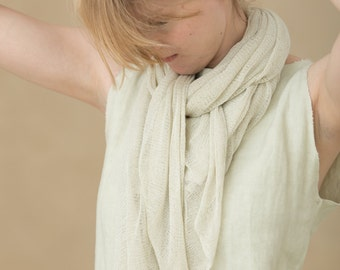 Light Cream Natural scarf  Ivory eco- friendly Scarf  bamboo