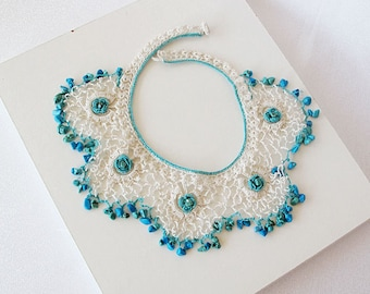 Lace Collar Necklace, Lace Jewelry, Blue Flowers, Romantic Lace Jewelry, Lace Fashion, Women's Accessories
