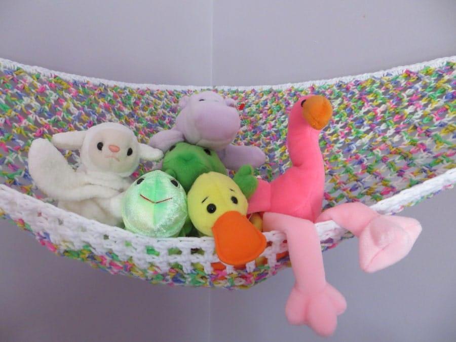 Net Toy Holder : Stuffed animal storage crochet toy net hammock in pink