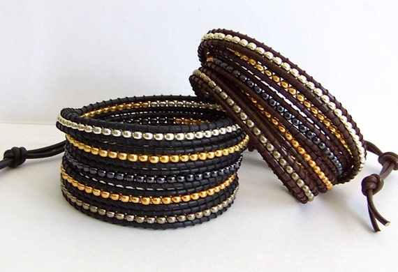 Beaded Leather Wrap Bracelet - Mixed Metal Miyuki Bead Nuggets, Black Leather, Brown Leather - Bohemian Artisan Jewelry