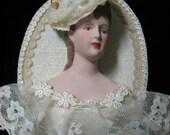 VINTAGE VICTORIAN ORNAMENT Framed Doll