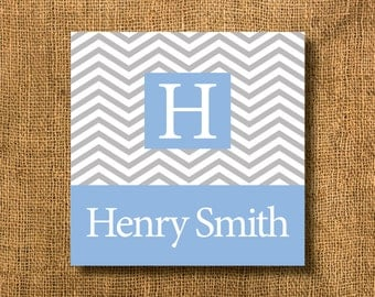 Boy Chevron Gift Tags or Calling Cards, Blue and Gray Gift Tags, Boy Gift Tags, Chevron Gift Tags