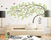 """Baby Nursery Wall Decals - Tree Wall Decal - Tree Decal - Birdcage Decal - Large: approx 79"""" x 112"""" - KC039"""