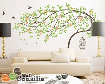 "Baby Nursery Wall Decals - Tree Wall Decal - Tree Decal - Birdcage Decal - Large: approx 79"" x 112"" - KC039"