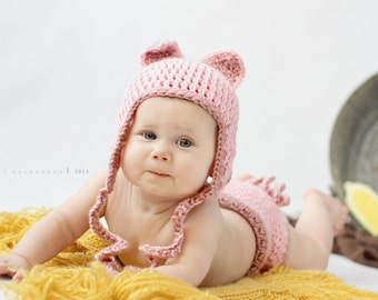 Pinky the Pig Crocheted Earflap Hat and diaper cover set- Made to Order- Any Size