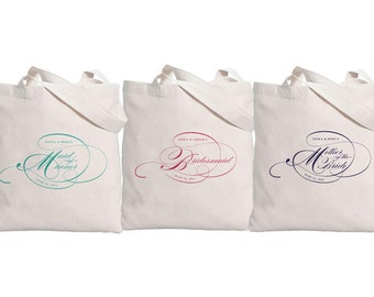 Wedding Party // SET OF 6 // Script Bridal Tote Bag with Personalization // Names Date and Title - 32L