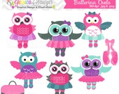 INSTANT DOWNLOAD, ballerina owl clipart, dancing owls clip art , for commercial use, personal use, invites, cards, scrapbooking