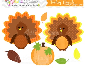 INSTANT DOWNLOAD, turkey friends clipart, thanksgiving clip art, for commercial use, card making, digital scrapbooking