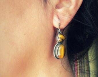 Tiger Eye & Sterling Silver Dangle Earrings. Gemstone Ethnic Jewelry