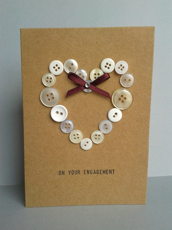 Items similar to button heart engagement card unique for Unique crafts to sell on etsy