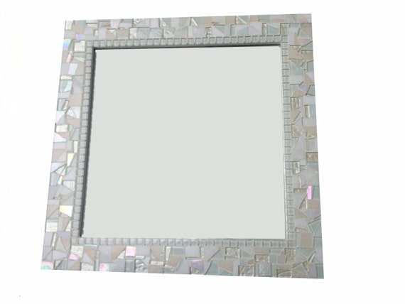 All White Mosaic Mirror Square Wall Mirror By