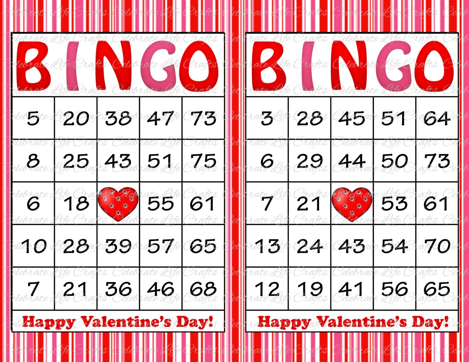 Transformative image with printable valentine bingo