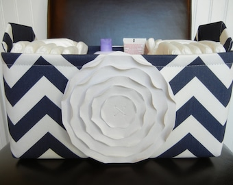 """LG Diaper Caddy(choose COLORS)12""""x10""""x6"""" Two Dividers-Fabric Storage Organizer-Baby Gift-Chevron-""""White Rose on Navy Blue/White Zigzag"""""""