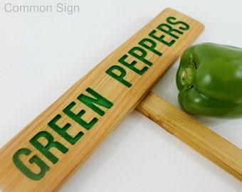 GREEN PEPPERS Garden Sign, Painted & Oil Sealed Cedar Wood: Hand Routed Sign, Vegetable Plant Garden Marker