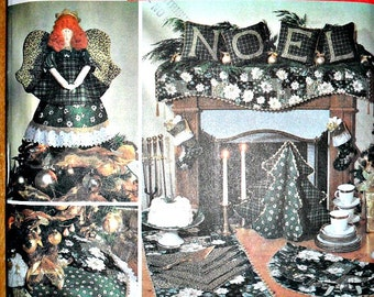 Christmas Craft Pattern Angels, Tree Skirt, Fabric Tree, Table Runner and More Simplicity 7846 Holiday Pattern Collection