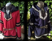 customizable Viking tunic with hood, medieval, fantasy, trim, clothing