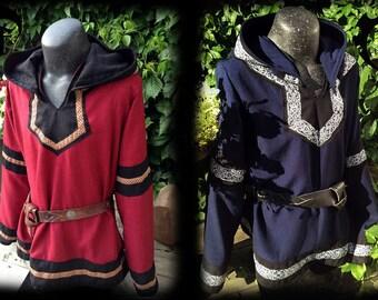customizable Viking tunic with hood, medieval, fantasy, trim, clothing