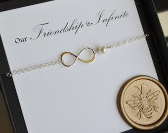 Sterling Silver Infinite Friendship Bracelet with AAA Grade Genuine Freshwater Pearl
