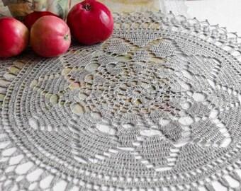 Natural linen crochet doily Grey doily crochet Round lace doilie Large crochet doilies Table top decoration Eco friendly 141