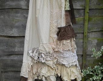 RitaNoTiara OOAK Fall Pearl Vintage Lace Boho Hippy Prairie Gypsy funky Lagenlook Long Asymmetric Skirt OSFM w/ RITANOTIARA Magnolia Bow
