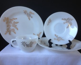 Federal Glass - Golden Glory - Bamboo Design - Dishes - 1960's - Plates, Bowls, Cups and Saucers - 18 Pieces