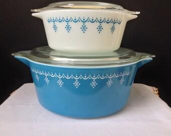 Pyrex -  Snowflake Blue -  Cinderella Casserole Dishes - Set of Two - 2 1/2 Qt., 1 1/2 Pt.