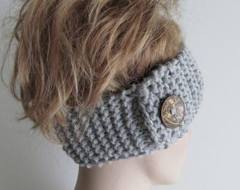 Grey Headbands Ear Warmers Turban Buttons Chunky Knit Gray Earwarmers Fall Winter Accessories Headcovers Womens Girls Knit Headwraps