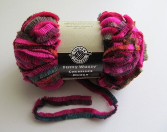 SALE - 5 skeins Fuzzy Wuzzy Chenilles Oruga Loops and Threads Acrylic Wool Fuchsia Green Purple Super Bulky