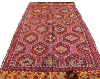 "Vintage Handwoven Wool Rug - Handmade Turkish Decorative Kilim Rug - 62""X118"" - Bohemian Home Decor - Antique Kilim Rug -"