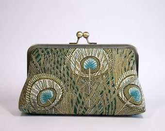 EllenVintage Hera Liberty Peacock Clutch in Green, Bridal clutch, Gift ideas, Bridesmaid clutch