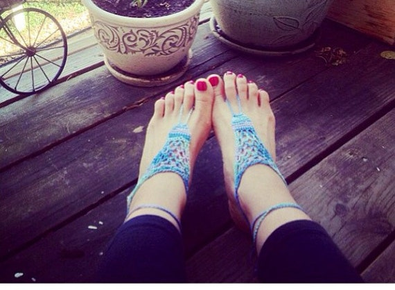 Pretty Peacock, Handmade Crochet Barefoot Sandals, Hippie Foot Thongs-One Size Fits All