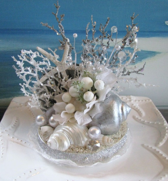 seashell coral wedding cake topper white. Black Bedroom Furniture Sets. Home Design Ideas