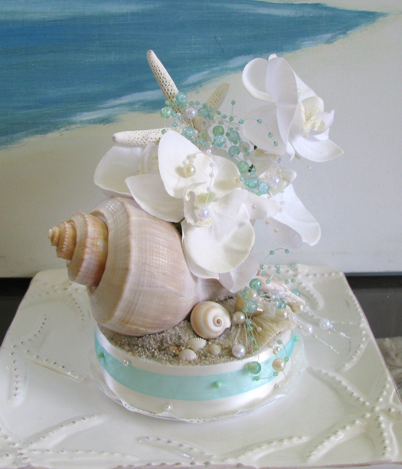 white orchid whelk seashell wedding cake topper pearls aqua. Black Bedroom Furniture Sets. Home Design Ideas