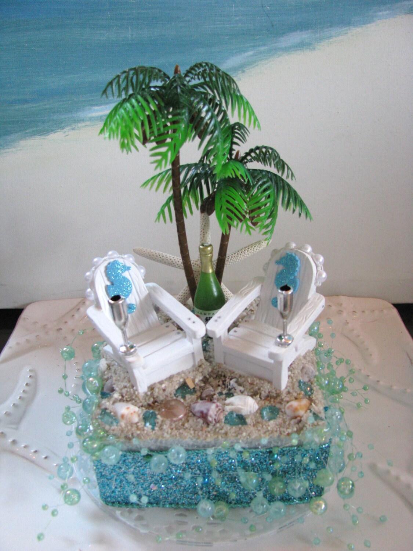 Palm Tree Adirondack Chairs Seahorse Beach Wedding Cake Topper