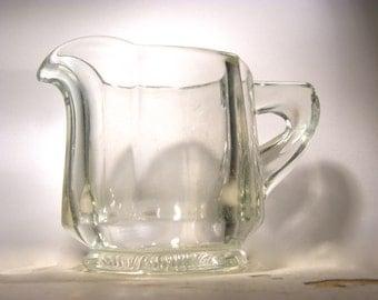 Vintage Thick Pressed Glass Starburst Creamer