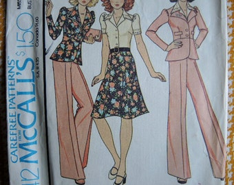 vintage 1970s McCalls sewing pattern 4412 jacket pants skirt size 12