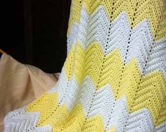 Yellow & white, Hand crocheted baby afghan. Crib size by GRANDMA D.