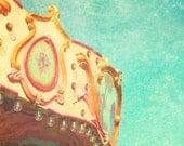 Vintage Carousel, Carnival Nursery Decor, vintage carnival, amusement ride, pastel, nursery decor, shabby chic, teal, fPOE, Moreys Pier,