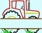 Split Red Tractor Applique Embroidery Design Pattern INSTANT DOWNLOAD