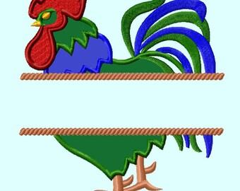 Split Rooster Applique Embroidery Design INSTANT DOWNload