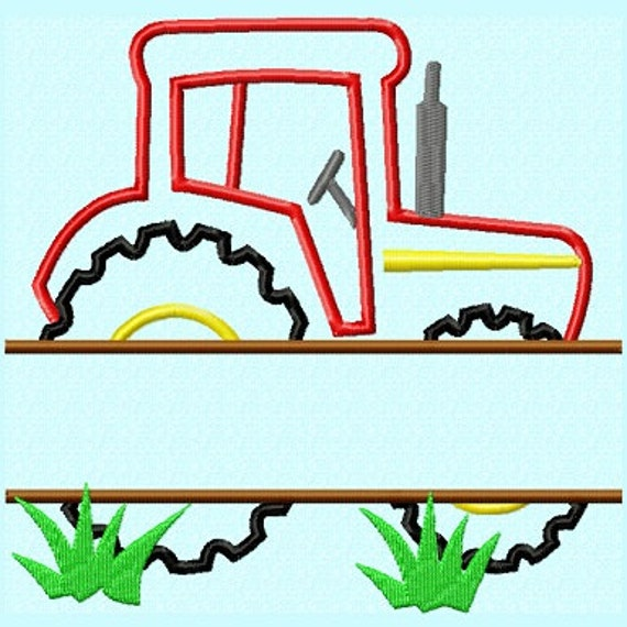 Embroidery Of Tractors : Split red tractor applique embroidery design pattern instant