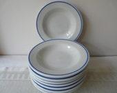 Shenango, Restaurant ware blue rim bowls set of 6, plus 1